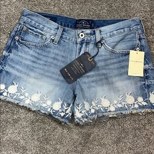 Lucky Brand The Cut Off Jean Shorts Embroidered 25